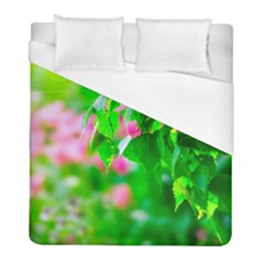 Green Birch Leaves, Pink Flowers Duvet Cover (full/ Double Size) by FunnyCow