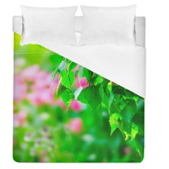 Green Birch Leaves, Pink Flowers Duvet Cover (queen Size) by FunnyCow