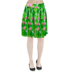 Green Birch Leaves, Pink Flowers Pleated Skirt