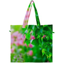 Green Birch Leaves, Pink Flowers Canvas Travel Bag by FunnyCow