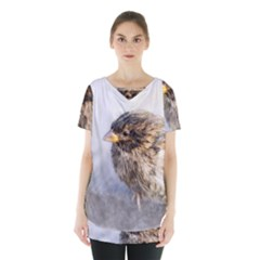 Funny Wet Sparrow Bird Skirt Hem Sports Top