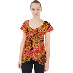 Orange, Yellow Cotoneaster Leaves In Autumn Lace Front Dolly Top