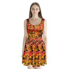 Orange, Yellow Cotoneaster Leaves In Autumn Split Back Mini Dress