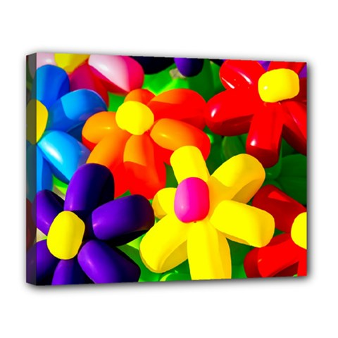 Toy Balloon Flowers Canvas 14  X 11