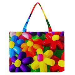 Toy Balloon Flowers Zipper Medium Tote Bag