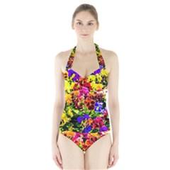 Viola Tricolor Flowers Halter Swimsuit