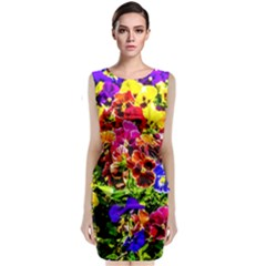 Viola Tricolor Flowers Classic Sleeveless Midi Dress