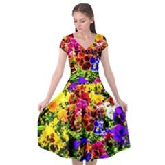 Viola Tricolor Flowers Cap Sleeve Wrap Front Dress