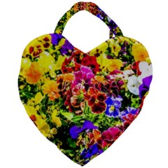 Viola Tricolor Flowers Giant Heart Shaped Tote by FunnyCow