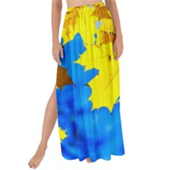 Yellow Maple Leaves Maxi Chiffon Tie Up Sarong
