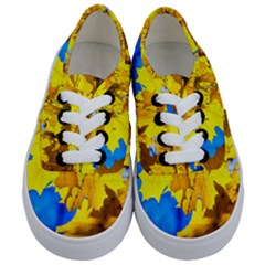 Yellow Maple Leaves Kids  Classic Low Top Sneakers