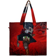 Funny, Cute Giraffe With Cool Hat Canvas Travel Bag by FantasyWorld7