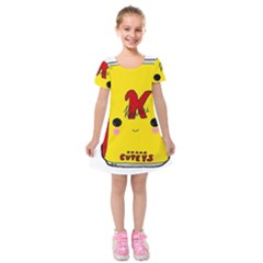 Kawaii Cute Tennants Lager Can Kids  Short Sleeve Velvet Dress