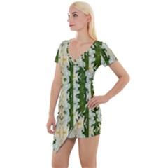 Fantasy Jasmine Paradise Bloom Short Sleeve Asymmetric Mini Dress
