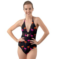 Flamingos Tropical Sunset Colors Flamingo Halter Cut Out One Piece Swimsuit