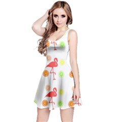 Flamingo Tropical Fruit Pattern Reversible Sleeveless Dress