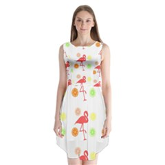 Flamingo Tropical Fruit Pattern Sleeveless Chiffon Dress