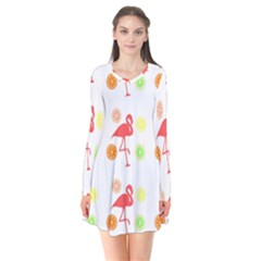 Flamingo Tropical Fruit Pattern Long Sleeve V Neck Flare Dress