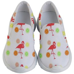 Flamingo Tropical Fruit Pattern Kid s Lightweight Slip Ons