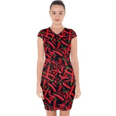 Red Chili Peppers Pattern Capsleeve Drawstring Dress