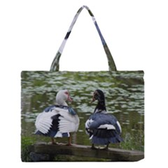 Muscovy Ducks At The Pond Zipper Medium Tote Bag