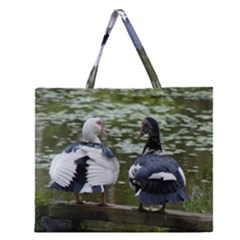 Muscovy Ducks At The Pond Zipper Large Tote Bag by ImphavokImpressions