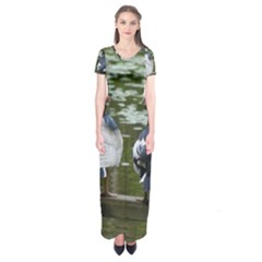 Muscovy Ducks At The Pond Short Sleeve Maxi Dress