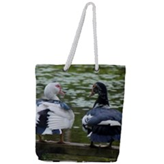 Muscovy Ducks At The Pond Full Print Rope Handle Tote (large)
