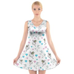 Unicorn, Pegasus And Hearts V Neck Sleeveless Dress