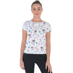 Unicorn, Pegasus And Hearts Short Sleeve Sports Top