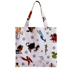 Dundgeon And Dragons Dice And Creatures Zipper Grocery Tote Bag