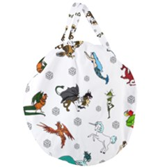 Dundgeon And Dragons Dice And Creatures Giant Round Zipper Tote by ImphavokImpressions