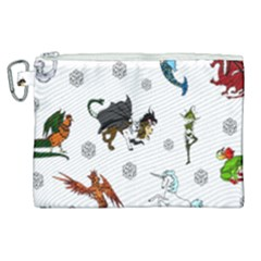 Dundgeon And Dragons Dice And Creatures Canvas Cosmetic Bag (xl)