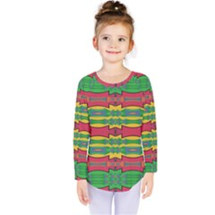 Shapes Rows Pattern                                        Kids  Long Sleeve Tee