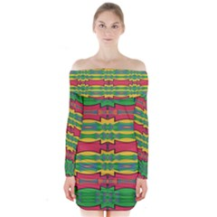 Shapes Rows Pattern                                      Long Sleeve Off Shoulder Dress