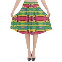 Shapes Rows Pattern                                    Flared Midi Skirt