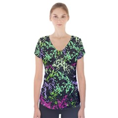 Misc Shapes On A Black Background                                            Short Sleeve Front Detail Top