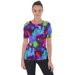 Paint Spots Texture                                   Shoulder Cut Out Short Sleeve Top