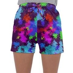 Paint Spots Texture                                        Women s Satin Sleepwear Sleeve Shorts