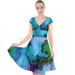 Blue Green Ink                                            Cap Sleeve Front Wrap Midi Dress