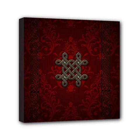 Decorative Celtic Knot On Dark Vintage Background Mini Canvas 6  X 6