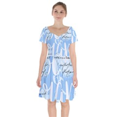 Love Script Blue Short Sleeve Bardot Dress
