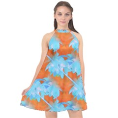 Coconut Palm Trees Tropical Dawn Halter Neckline Chiffon Dress