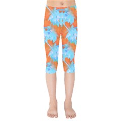 Coconut Palm Trees Tropical Dawn Kids  Capri Leggings