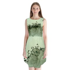Elegant, Decorative Floral Design In Soft Green Colors Sleeveless Chiffon Dress   by FantasyWorld7