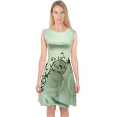 Elegant, Decorative Floral Design In Soft Green Colors Capsleeve Midi Dress