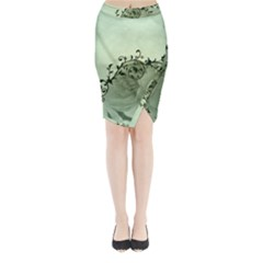 Elegant, Decorative Floral Design In Soft Green Colors Midi Wrap Pencil Skirt by FantasyWorld7