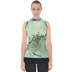 Elegant, Decorative Floral Design In Soft Green Colors Shell Top