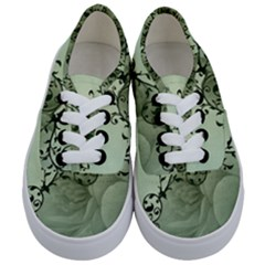 Elegant, Decorative Floral Design In Soft Green Colors Kids  Classic Low Top Sneakers