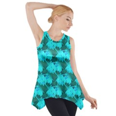 Coconut Palm Trees Blue Green Sea Small Print Side Drop Tank Tunic